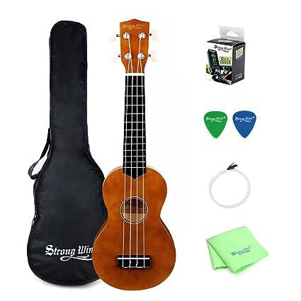 Amazon.com: Soprano Ukulele Beginner Kit, Strong Wind 21 inch 4 ...