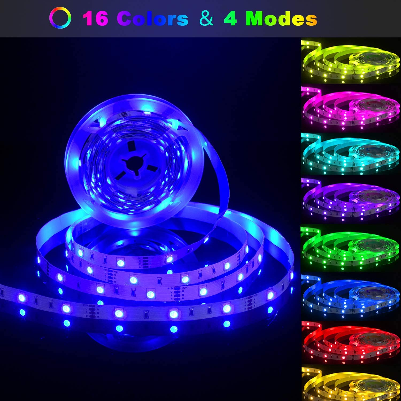 Striscia LED,Kit di Strisce LED Aourow 5m RGB con Telecomando IR a 24 Tasti e Alimentatore 12V,TV Retroilluminazione Luci Nastro 5050 Multicolore con Autoadesiva per Decorazione DIY,Non Impermeabile