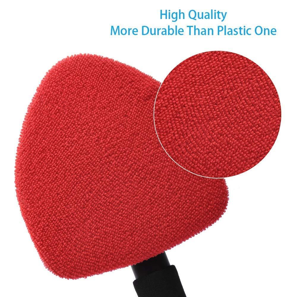 KJLM Parabrisas del Coche Cepillo de Limpieza de Cristales Manija Desmontable 2 Paquetes Rojo