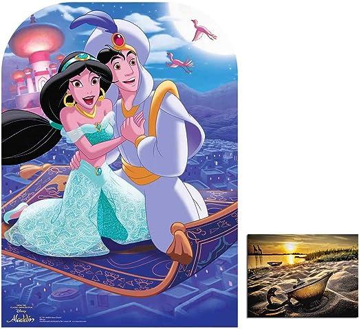 89cm x 51cm and 8x10 Photo Official Princess Jasmine and Aladdin Mini Cardboard Cutout//Standup