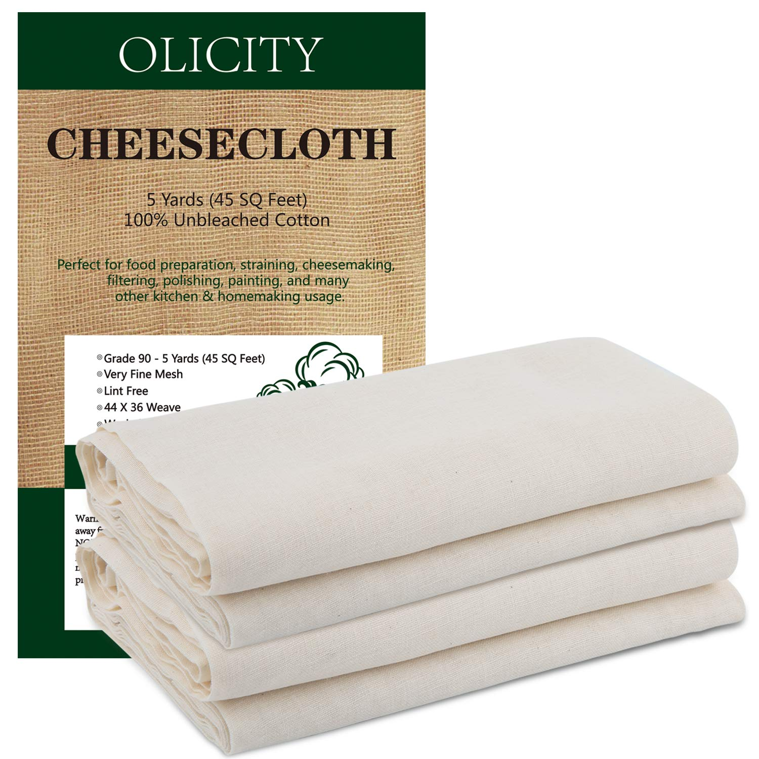 Olicity Cheesecloth, Grade 90, 45 Square Feet, 100% Unbleached Cotton Fabric Ultra Fine Muslin Cloths for Butter, Cooking, Strainer, Baking, Halloween Decorations - 5 Yards