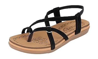 733dd03bd2dde Perfect Choice Stylish   Fashionable Black Comfortable Casual Synthetic  Flat Sandal for Women Dailywear Footwear