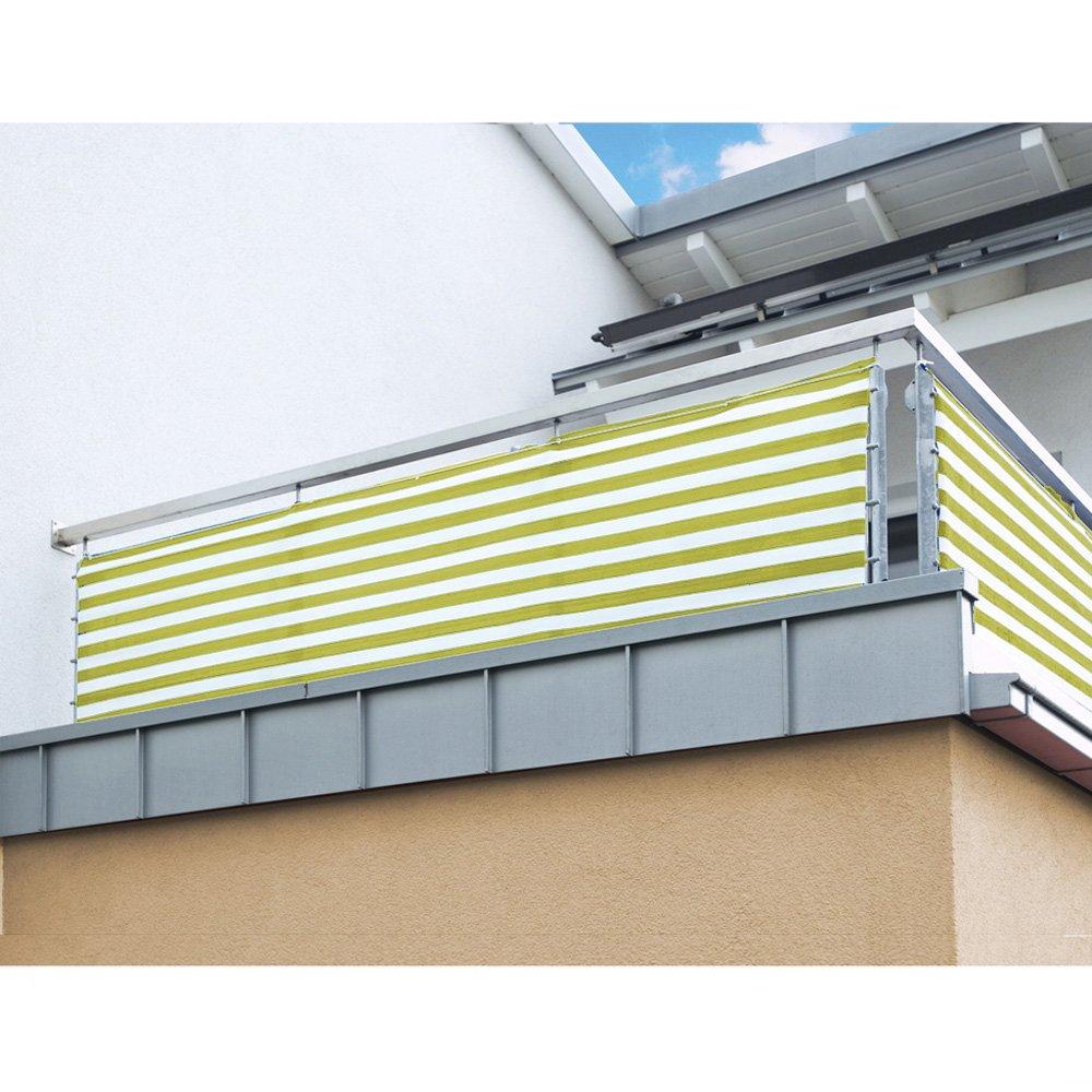 Balkon Sichtschutz Nach Mass In Gelb Weiss Meterware Langlebiges