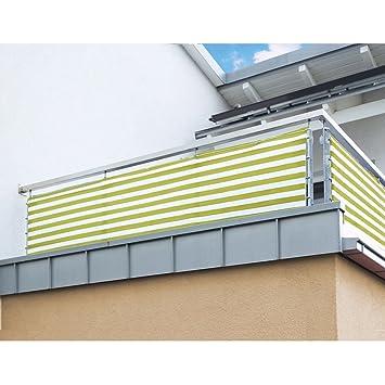 Balkon Sichtschutz Nach Mass In Gelb Weiss Meterware Langlebiges UV Bestandiges HDPE Gewebe Mit