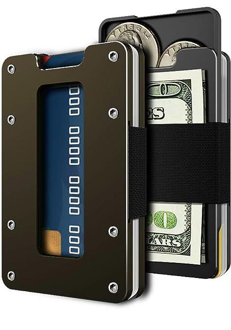 2aaad7a3a2983a Amazon.com: Minimalist Metal Wallet for Men & Women Slim Front ...