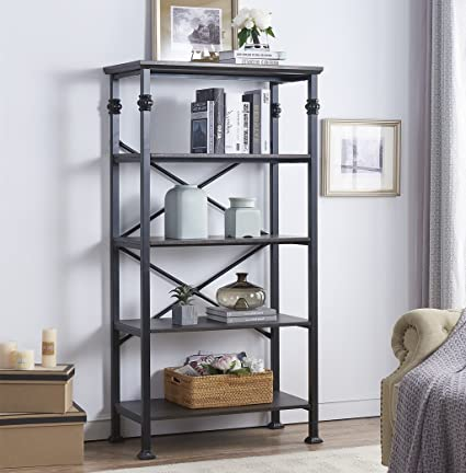 OK Furniture 5 Tier Bookcase And Shelves Vintage Wood Metal Bookshelf For Home