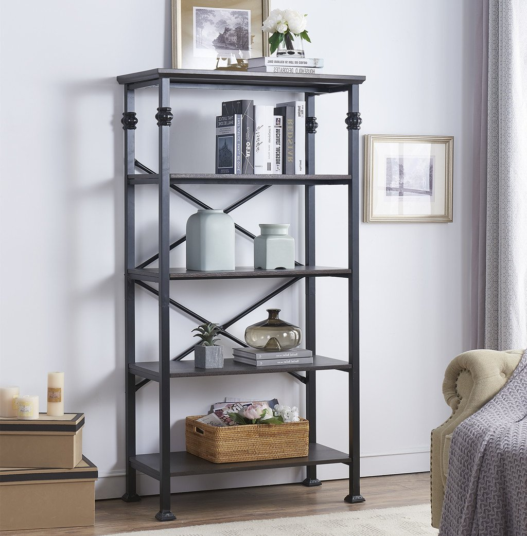 "O&K Furniture 5-Tier Bookcase and Shelves, Vintage Wood and Metal Bookshelf for Home Decor Display, Black-Espresso - &#9670Varying sizes and multiple finishes to meet diverse storage needs. Matching coffee tables are also available to blend in with home decor and surrounding furniture &#9670Bookcase dimension: 32.68""Wx16.14""Dx62.20""H. Height between Shelves: 13-Inches. Holds up to 45 lbs per shelf is recommended &#9670Double back crossbars for stability add an artistic touch and style that will stand out in any room. Also, optional reinforce bar under the shelf provided for Heavy-duty use - living-room-furniture, living-room, bookcases-bookshelves - 71pooi52uxL -"