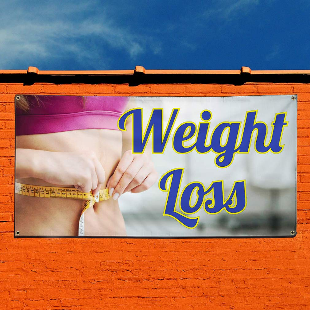 4 Grommets 28inx70in Vinyl Banner Sign Weight Loss #1 Style A Business Health Marketing Advertising Blue Multiple Sizes Available Set of 2