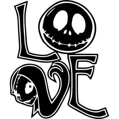 CCI Nightmare Before Christmas Love Sally and Jack Decal Vinyl Sticker|Cars Trucks Vans Walls Laptop| Black |5.5 x 4.5 in|CCI509: Automotive