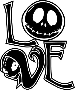 CCI Nightmare Before Christmas Love Sally and Jack Decal Vinyl Sticker|Cars Trucks Vans Walls Laptop| Black |5.5 x 4.5 in|CCI509