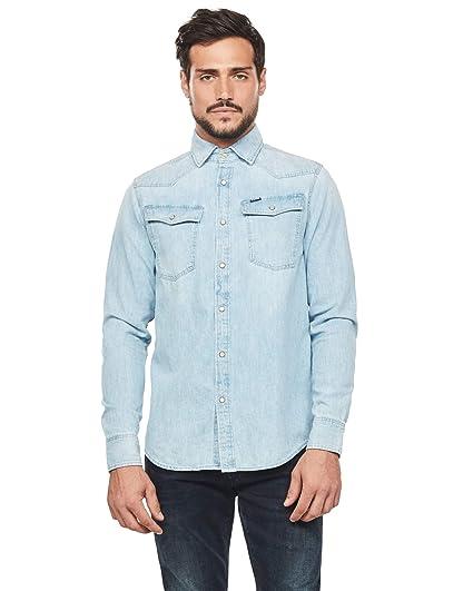 G-STAR RAW Omohundro Hooded Zip Knit Camisa Vaquera para Hombre ...