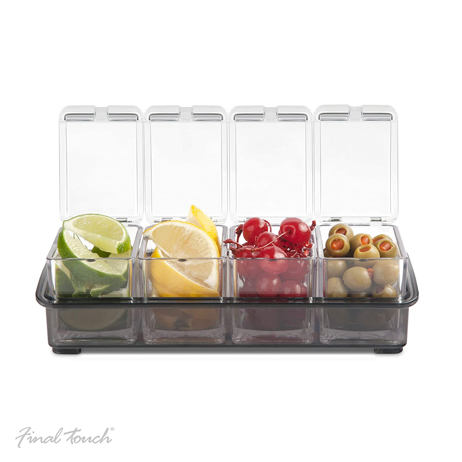 Final Touch Condiment Dispenser Holder 4 Compartment Garnish Bar Caddy 5 Piece Set Includes 4 Removable Containers And A Non-Slip Base Holds Cocktail Ingredients Cherries Olives Lemons Or Limes
