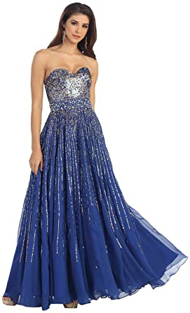 Royal Queen RQ7047 Flowy Prom Evening Gown (4, Royal Blue)