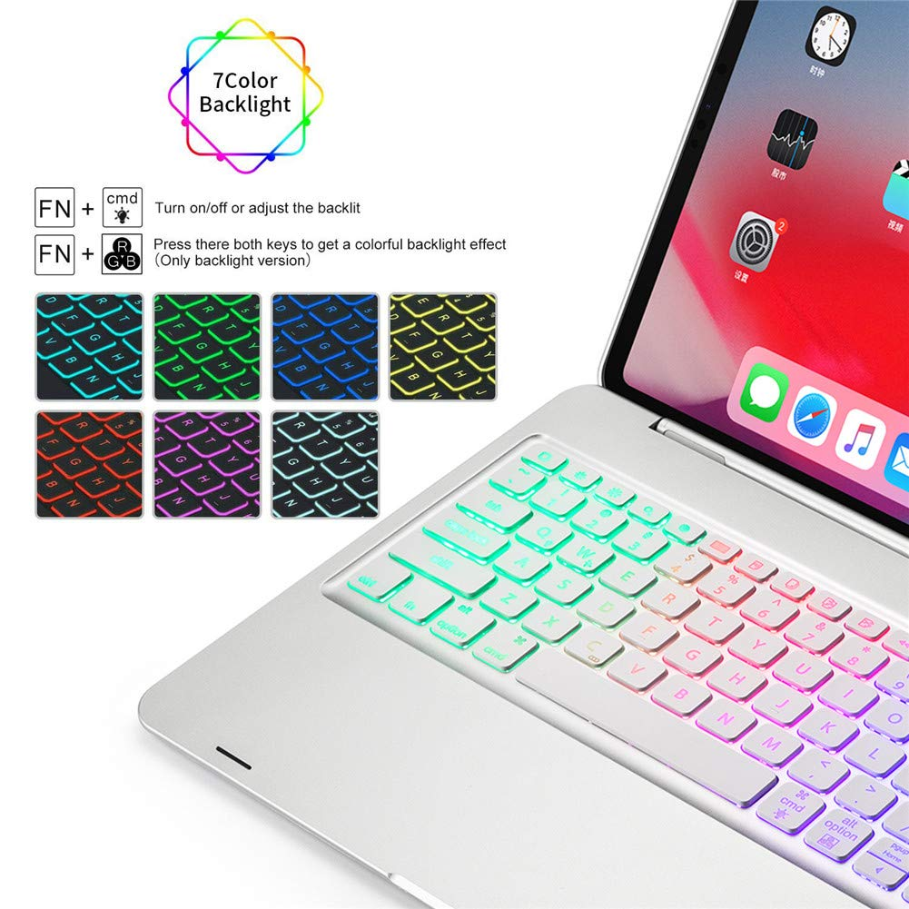 Black 2018 Elecguru Ultrathin Keyboard Case for iPad Pro 12.9 2018 ,7 Color Backlit 4.0 Wireless Bluetooth Keyboard Stand Cover Compatible with iPad Pro 12.9 Inch 3rd Gen