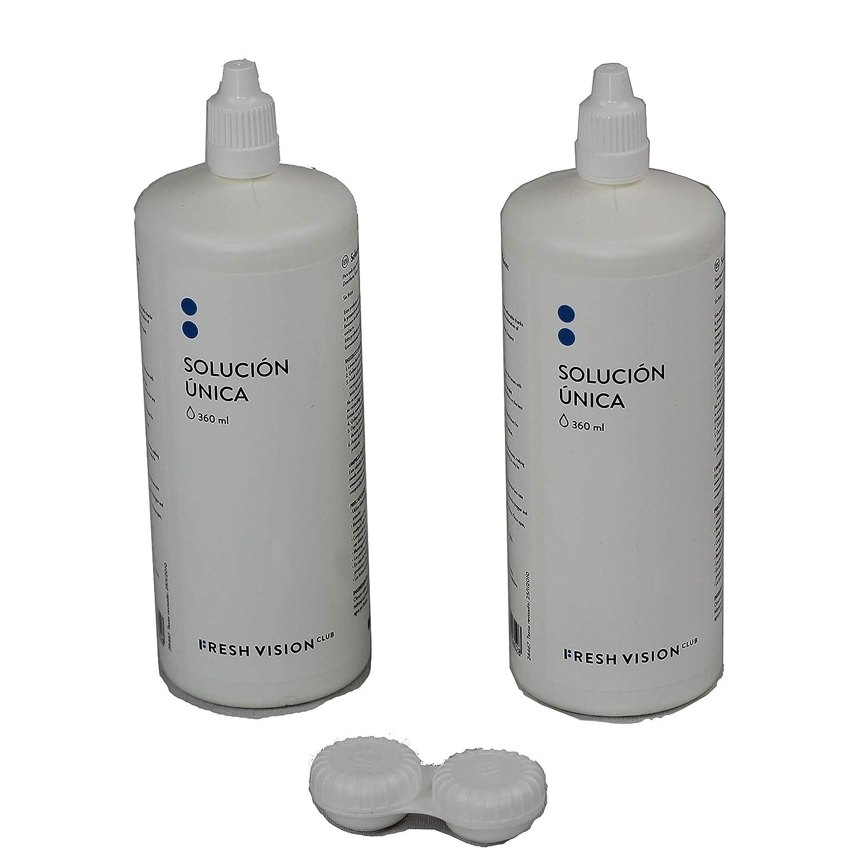FVC Solución Única para Lentes de Contacto Blandas. 2 botellas de 360ml (720ml en total) + estuche lentillas