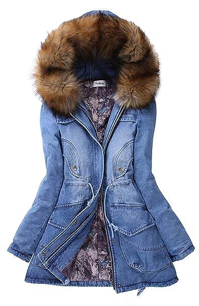 cappotto blu donna con pellicciotto elegante