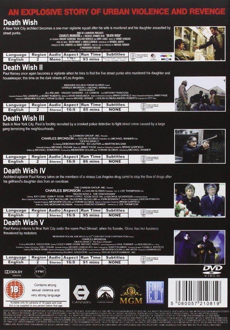 Death Wish 1-5 Complete Collection Reino Unido DVD: Amazon ...