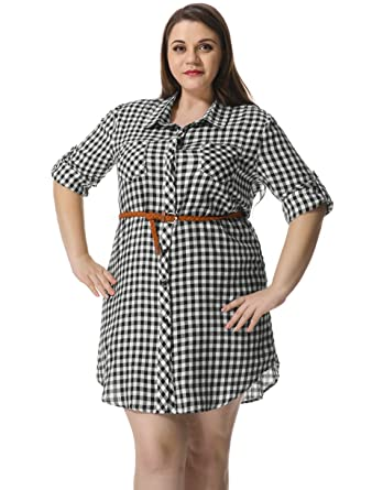Agnes Orinda Women Plus Size Roll Up Sleeves Belted Plaid Shirt ...