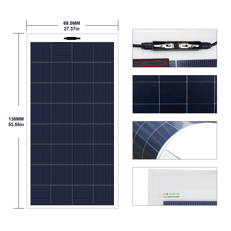 Amazon.com: ECO-WORTHY - Panel solar monocristalino flexible ...