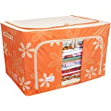 BlushBees® Living Box - Storage Boxes for Clothes, Blanket Cover Bag - 100 Litre, Pack of 1, Orange