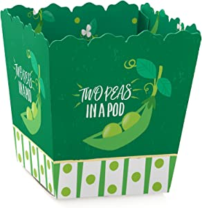 Big Dot of Happiness Double the Fun - Twins Two Peas in a Pod - Party Mini Favor Boxes - Baby Shower or First Birthday Party Treat Candy Boxes - Set of 12
