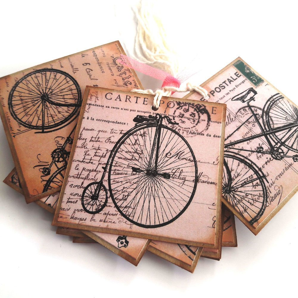 Amazon.com: Bicycle Gift Tags - Travel Journey Bike Baby Shower ...