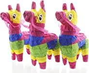 Juvale Pack of 3 Miniature Donkey Pinatas - Rainbow Donkey Mini-Sized Mexican Pinatas for Birthday Party, Cinco De Mayo, Fies
