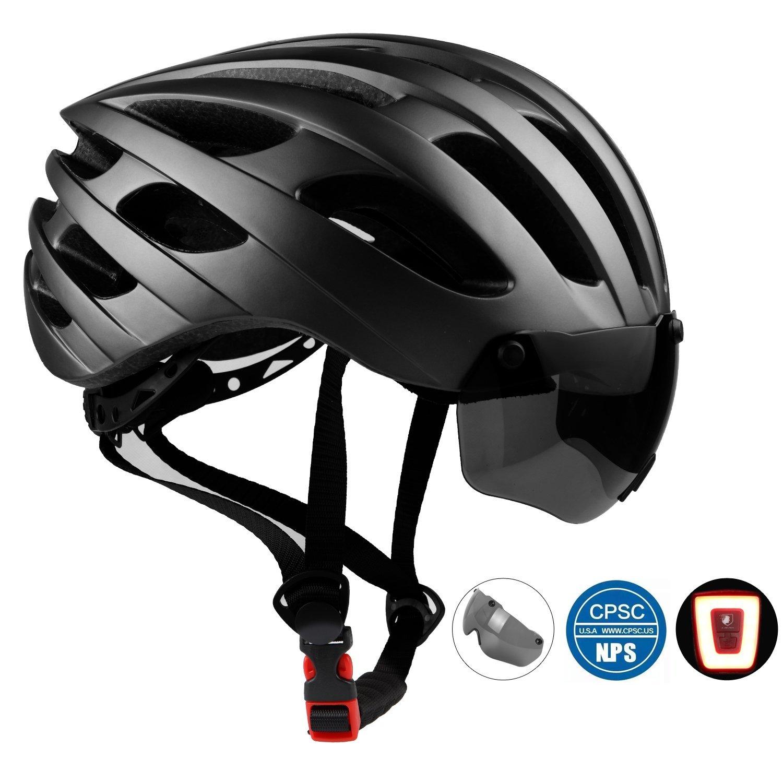 Leadfas - Casco de Ciclismo para Adultos, Certificado CE, Ligero, con luz de Seguridad LED y Gafas magnéticas Desmontables para Hombres y Mujeres, ...
