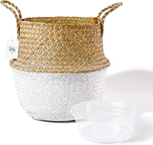 POTEY 710202 Seagrass Plant Basket - Hand Woven Belly Basket with Handles, Large Storage Laundry, Picnic, Plant Pot Cover, Home Decor and Woven Straw Beach Bag (Large, Original+White)