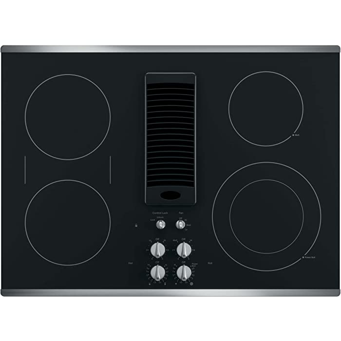 "GE PP9830SJSS 30 Inch Smoothtop Electric Cooktop with 4 Burners, 3-Speed Downdraft Exhaust System, 9""/6 Inch Power Boil, Bridge Element and"