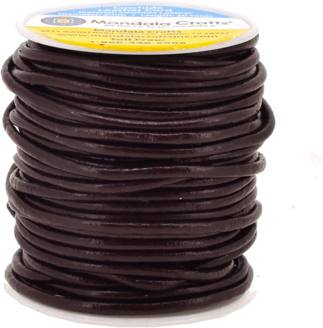 Natural Rawhide Rope for Jewelry Making Mandala Crafts Round Cowhide Genuine Leather String Cord Shoelaces Kumihimo Braiding 1mm, Brown
