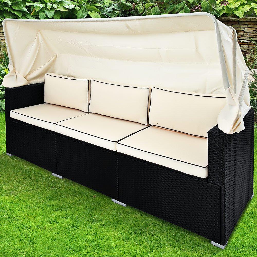 Deuba Poly Rattan Gartenbank Schwarz I Faltbares Dach I 7cm Dicke Auflagen - Gartenliege Lounge Sofa Couch Gartenmöbel