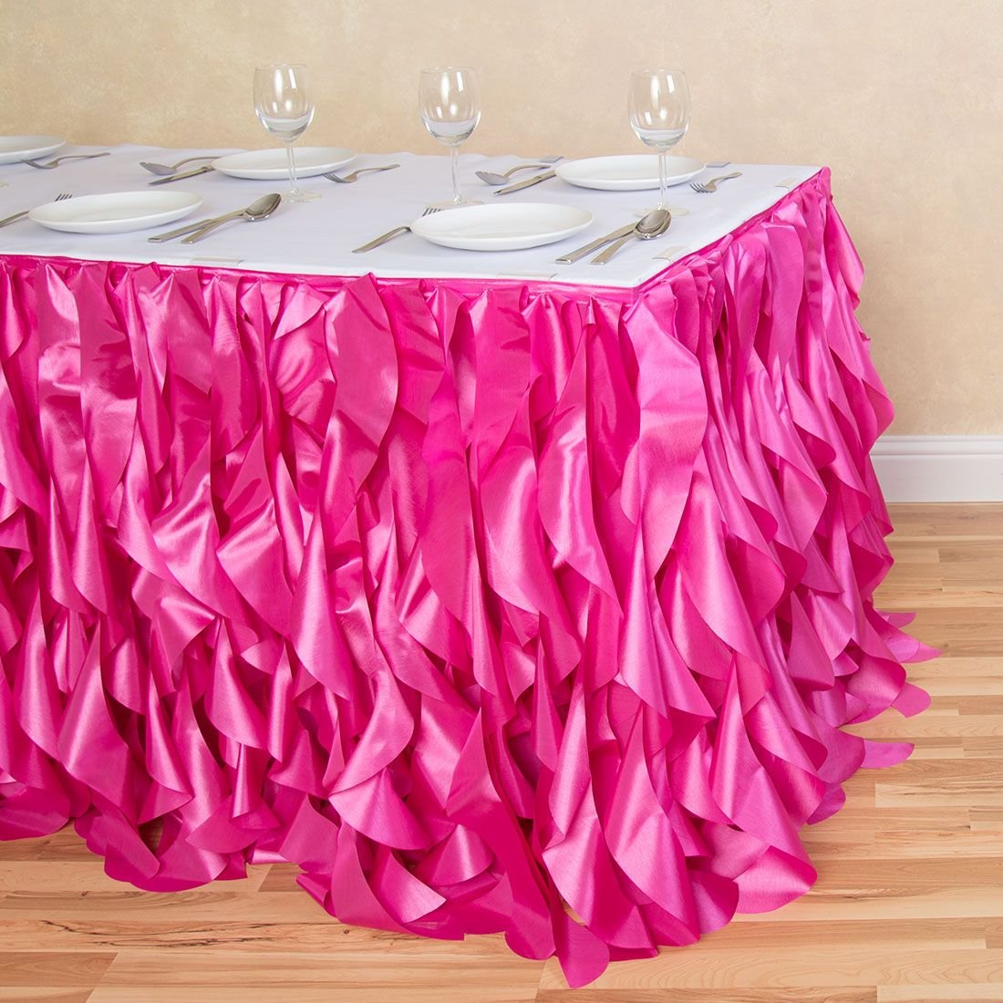 21 ft. Curly Willow Table Skirt Fuchsia by LinenTablecloth
