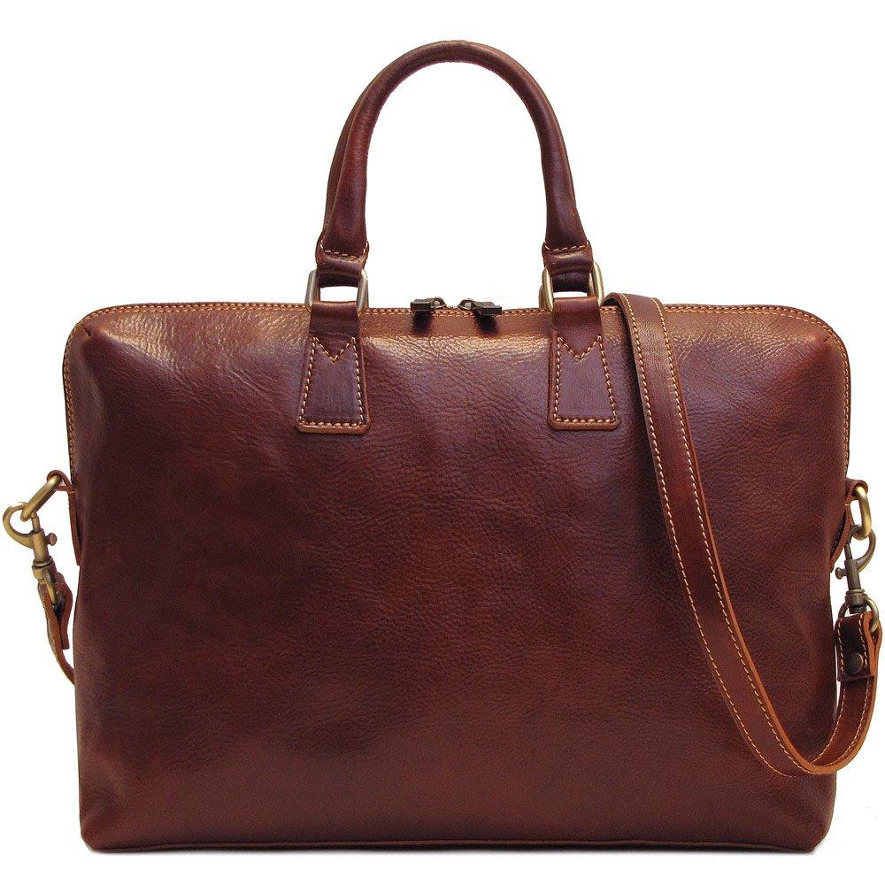 Floto Milano Slim Brown Briefcase Attache Lap-top Case by Floto