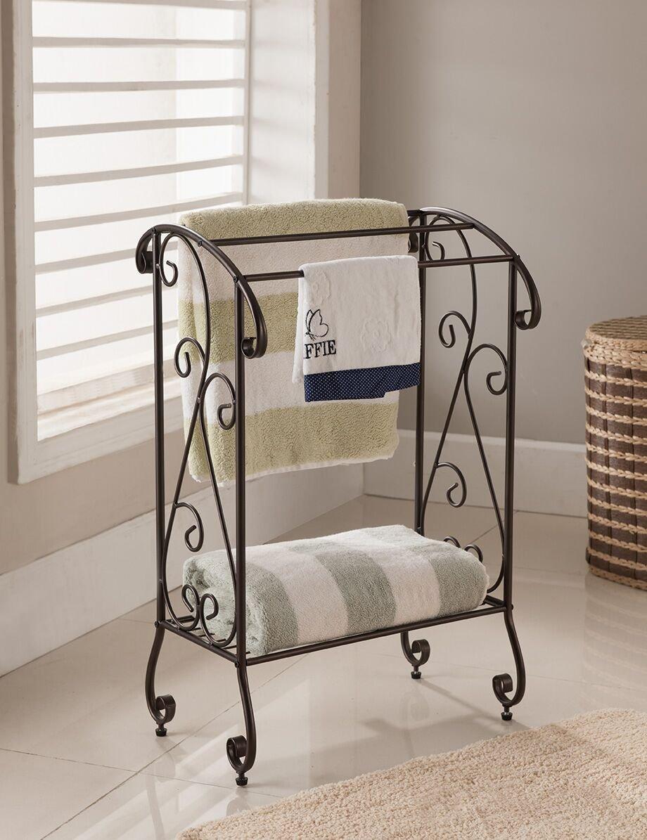 Kings Brand Furniture - Coffee Brown Metal Free Standing Towel Rack Stand with Shelf by Kings Brand Furniture