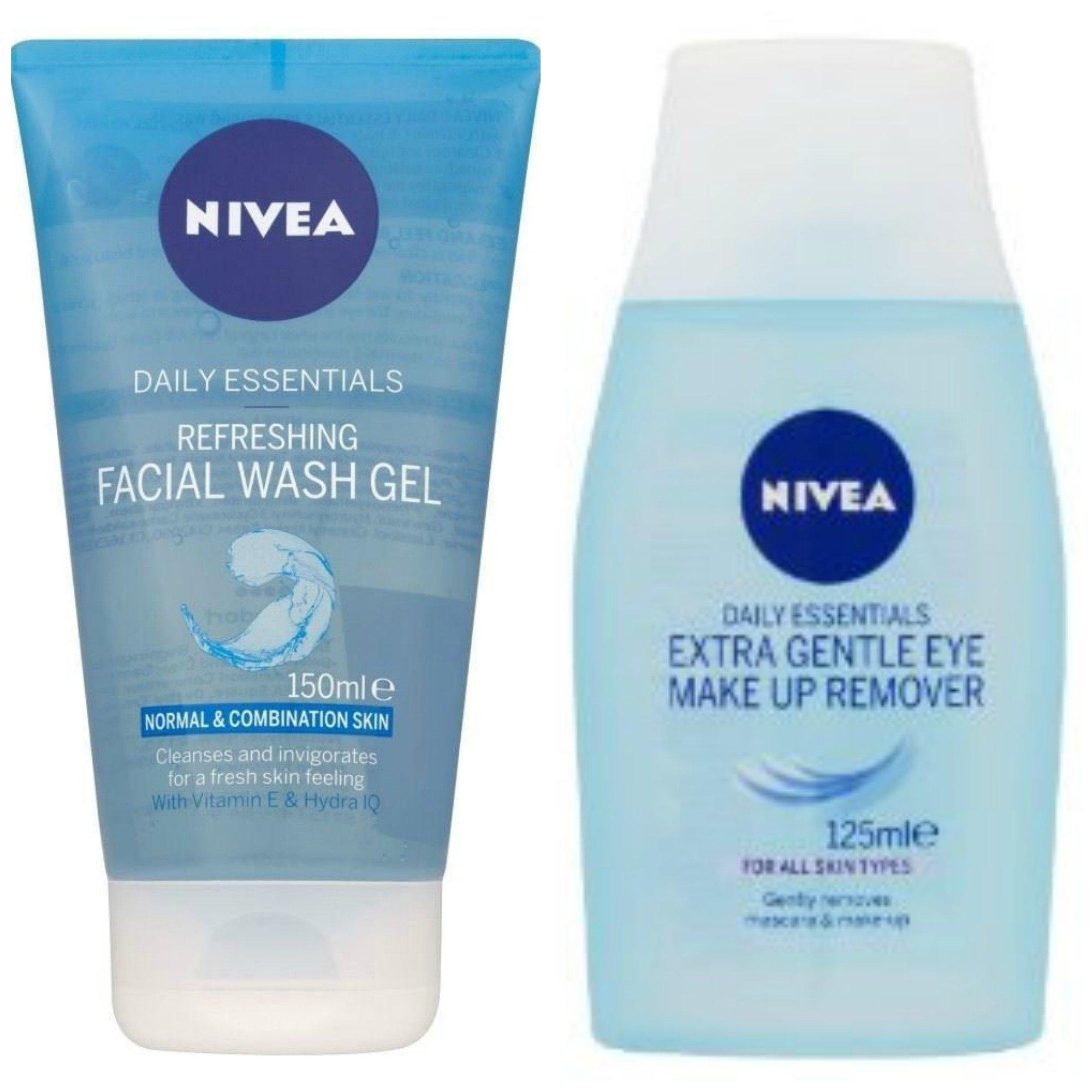 Nivea Visage Daily Essentials Refreshing Facial Wash Gel - Normal & Combination Skin (150ml) (Refreshing Facial Wash Gel + Eye Makeup Remover)