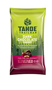 Tahoe Trail Bar, Plant-Based Natural Energy Bar (2.3 Ounce Protein Bar, 12 Count) High Protein Non-GMO, Gluten-Free, Vegan Healthy Snacks - Dark Chocolate Cherry