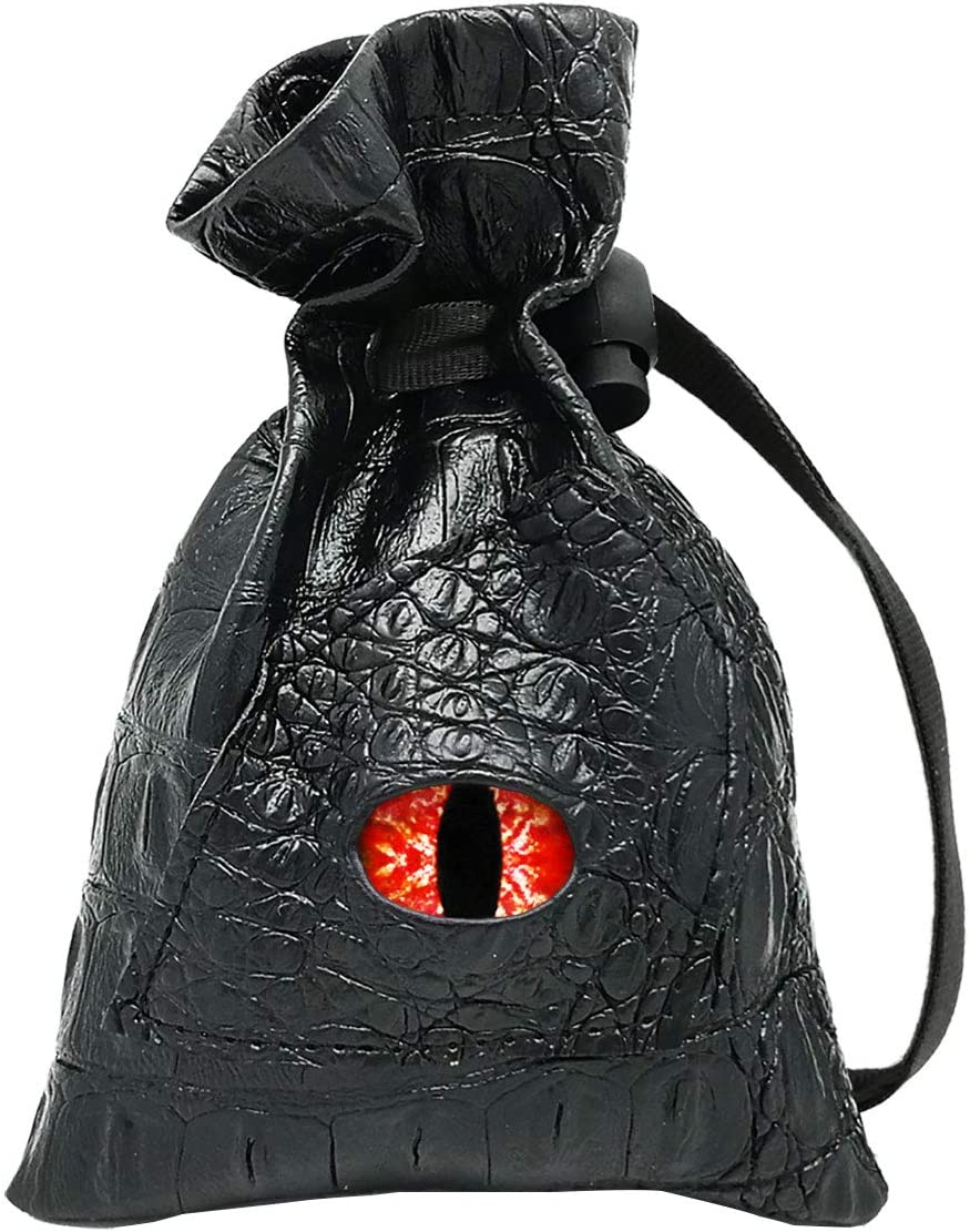 Haxtec Dice Bag Drawstring Leather DND Dice Pouch Storage Bag for D&D Dices, Coins and Accessories (Revenge-Blood Eye)
