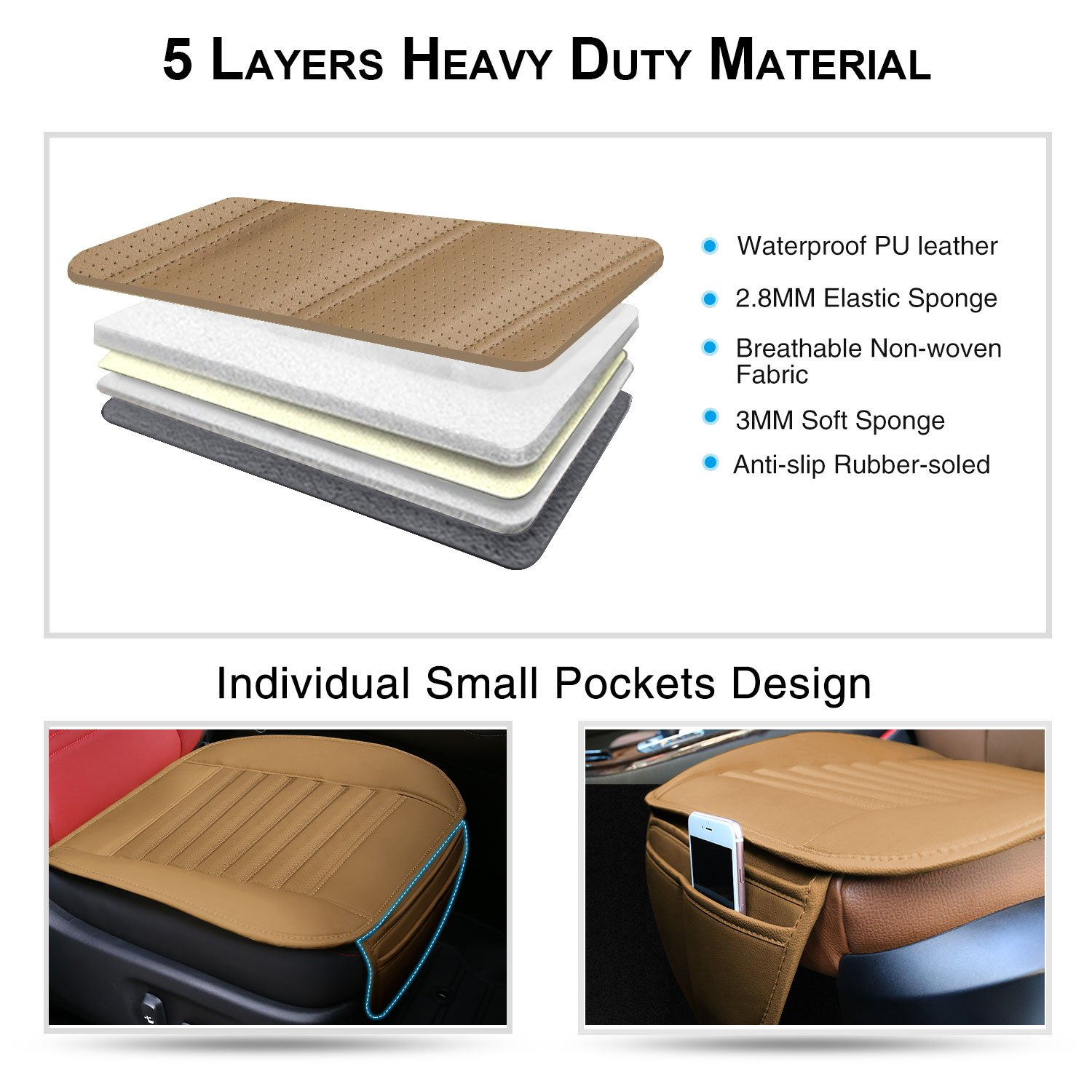 2PCS Breathable Car Interior Seat Cover Cushion Pad Mat for Auto Supplies Office Chair with PU Leather MODOKIT Car Seat Cushions Beige Waterproof