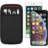 (ポケット付) iPhone XS Max/11 Pro Max (6.5インチ) 6/6s/7/8 Plus (5.5インチ) 用 JustFit. スリーブケース (ブラック/レッド) 専用設計だからジャストフィット 周辺機器が収納出来るポケット付 IP6PJFSCPBR