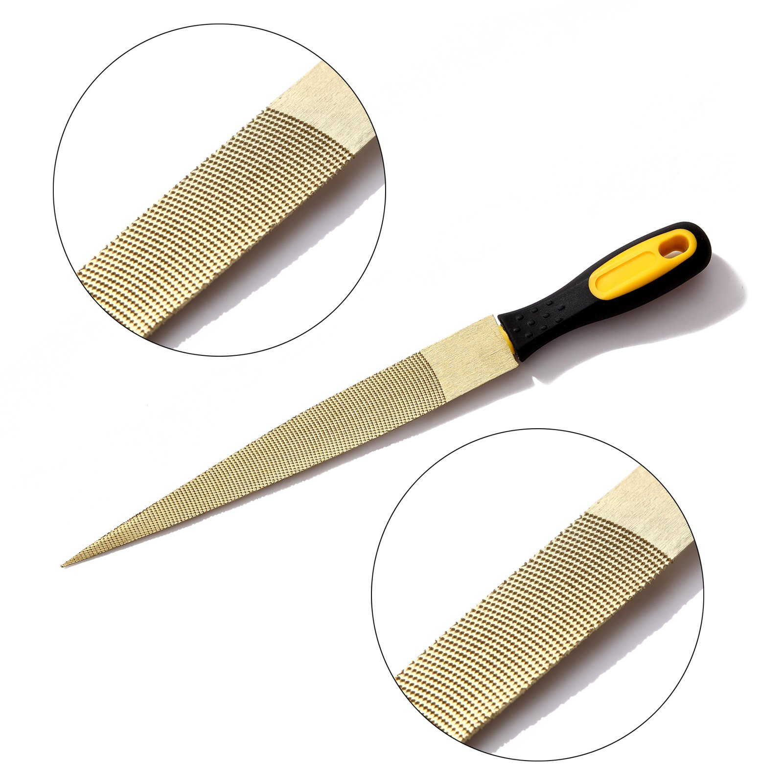 NKTM 8'' and 10'' Golden Tapered Wood Rasp Bastard File with Rubber Handle in Gift Bag for Carving 2 Pack by NKTM (Image #7)
