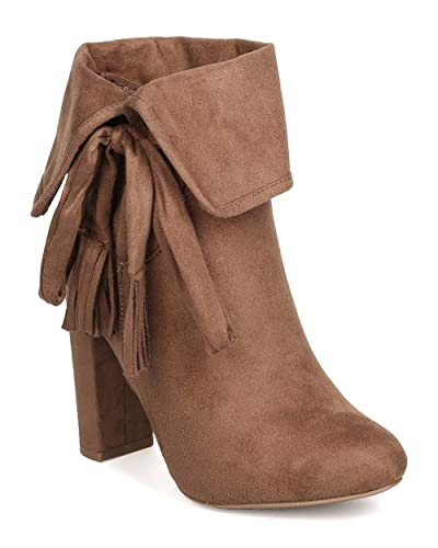Women Faux Suede Tassel Heel Bootie - Dressy Night Out Casual - Cuffed Ankle Boot - GC97 by