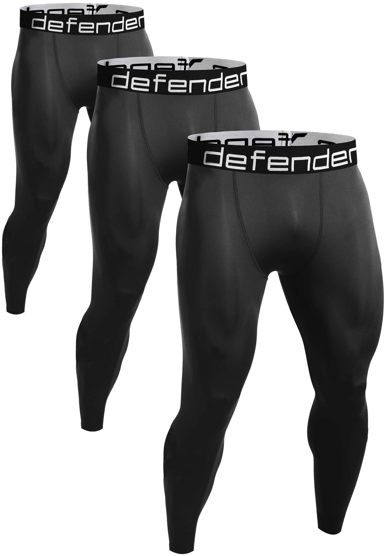 Defender Men's 3 Pack Sports Compression Pants Tights Inner Fits Hockey 3ABB_L by Defender
