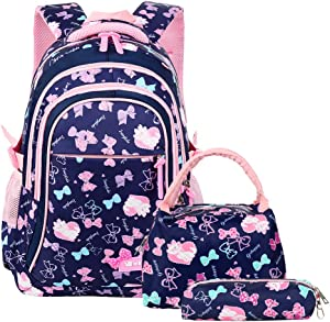 VBG VBIGER School Bags School Backpack Polka Dot 3pcs Kids Book Bag Lunch Bags Purse Girls Teen