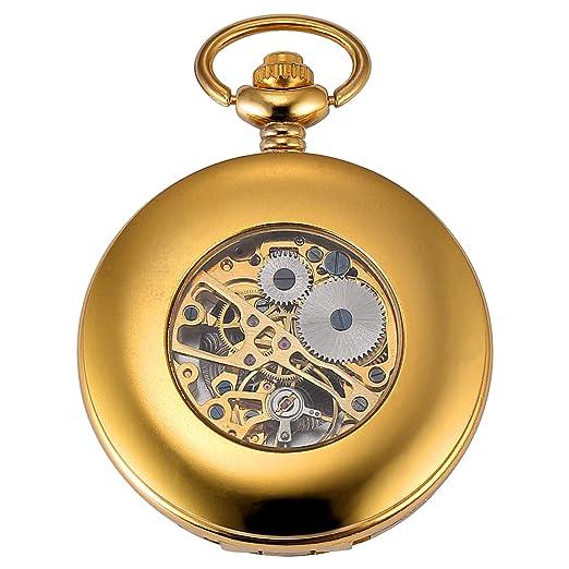 KS Reloj de Bolsillo con Cadena Hombres Antiguos Steampunk Esqueleto Mecánico con Caja de Regalo Color Dorado KSP073: Amazon.es: Relojes