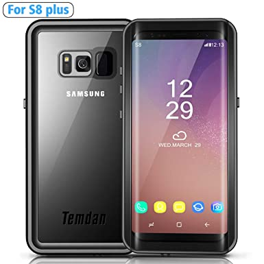 wholesale dealer 4a4a1 11a0f Temdan Galaxy S8 Plus Waterproof Case with Kickstand Shockproof Waterproof  Case for Samsung S8 Plus(6.2inch)-BLACK (Black(with floating strap))