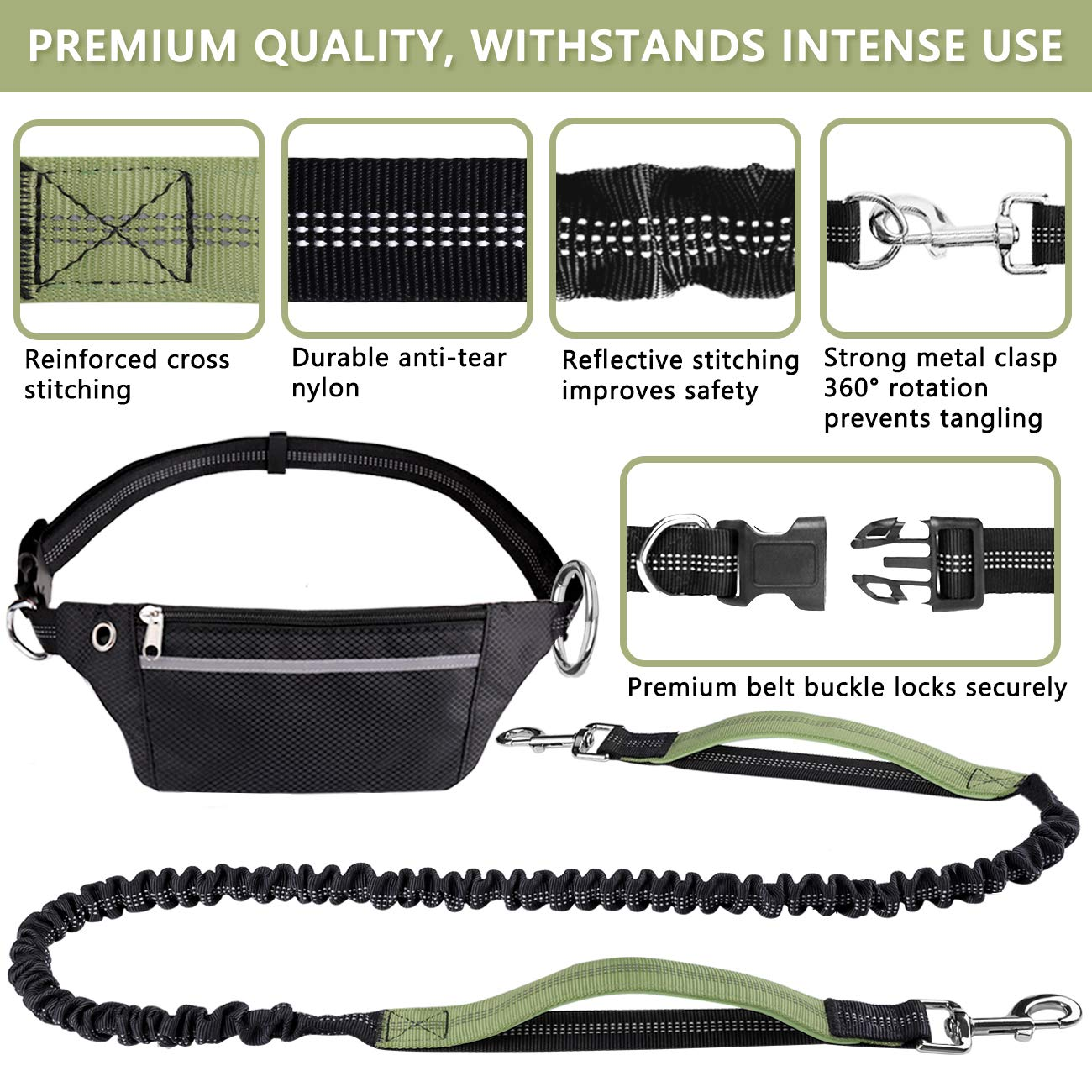Retractable Bungee Dog Running Waist Leash for Medium to Large Dogs Dual Handle Adjustable Waist Belt Reflective Stitches LANNEY Hands Free Dog Leash for Running Walking Jogging Training Hiking