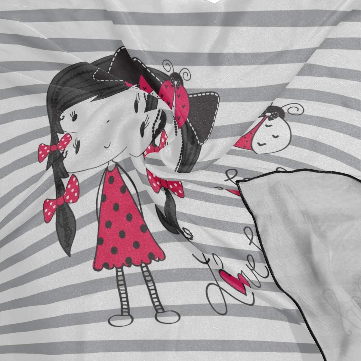 Soft Polyester Silk Hair Scarf Scrunchie Fashion Print Cute Cartoon Girl With A Ladybug Mom Scarf Scarf Large Head Scarf Lightweight Multiple Ways Of Wearing Daily Decor