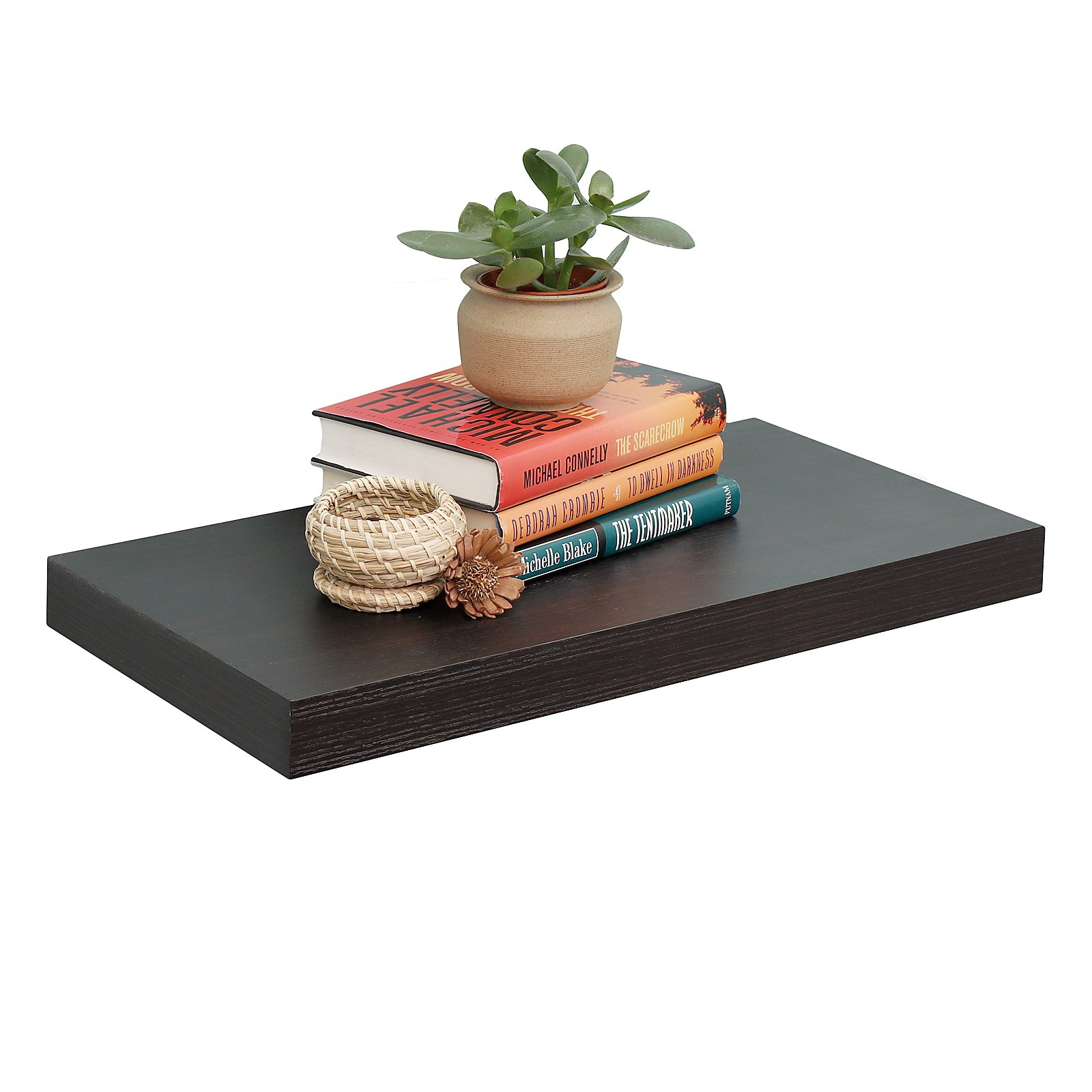 WELLAND 12'' Depth Floating Wall Shelf Display Floating Shelf, 24''L x 12''D x 2''T, Deeper Than Others, Espresso