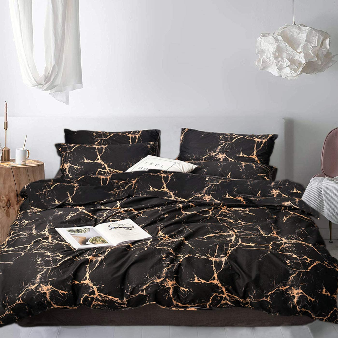 Jumeey Black Duvet Cover Marble Bedding Set Queen Abstract Rose Gold 100% Soft Cotton Bedding Full Size for Men Women 1 Duvet Cover with 2 Pillow Shams